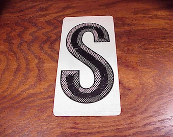 Vintage Black and White Letter S Metal Store Marquee Sign, 9 7/8 Inches Tall, Capital Letter, Shelf Display, Home Decor, Graphic