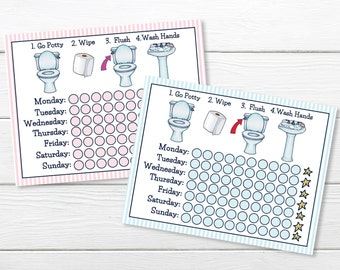 PRINTABLE- BOYS & GIRLS - Days of Week- Potty Training Chart- Young Child/Toddler Potty Chart