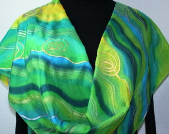 Green Hand Painted Silk Scarf Emerald Lime Handpainted Silk Shawl COLORADO MEADOWS- Select Your SIZE, by Silk Scarves Colorado. Elegant Gift