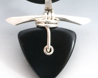 Black Tagua Nut and Hand Forged Sterling Silver Necklace