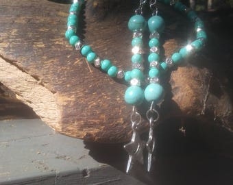 Turquoise and Tibetan Silver Bracelet with matching earrings
