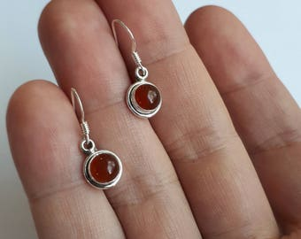 Carnelian earrings, 92.5 sterling silver