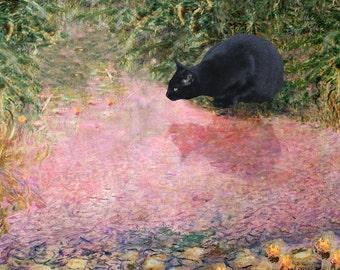 Cat Lover Gift, Black Cat Art, Claude Monet Parody, Cat Art Print, Crazy Cat Lady, Deborah Julian
