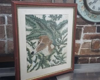 Very Large Tapestry Glazed Frame Fox  / Dog