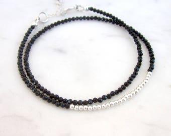 Black spinel bracelet, dainty gemstone bracelet, skinny 2mm spinel bracelet, sterling silver bracelet, minimal double wrap stone bracelet