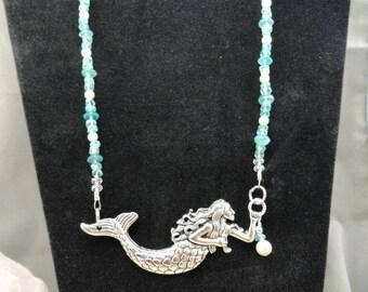 Apatite Swarovski Pearl Mermaid Necklace