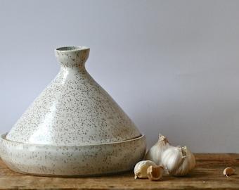 Tagine handmade  oven baker with blue glass knob, casserole, rustic centrepiece, dinnerware, Golem Kitchen collection