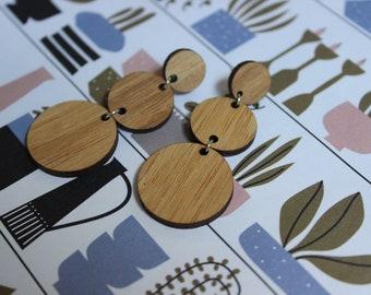 Alice Earrings - Laser Cut Bamboo Geometric Circle Dangly Earrings