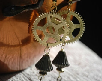 Steampunk Earrings- Real Antique Clock Parts- Upcycled Beads and Jewelry- Unique- Gift- Present- Recycled