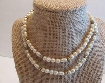 Vintage Gold Filled Freshwater Pearls Necklace