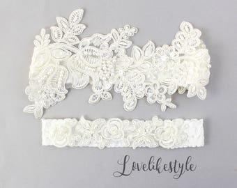 Wedding Garter Set, Ivory Beaded Lace Garter Set,Bridal Wedding Grter,Wedding Garter Set, Ivory Wedding Garter, Style No. GT-76A
