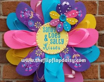 "Beautiful ""Sandy Toes & Salty Kisses"" Flip Flop Wreath Wall Door Decor Beach Ocean Unique Gift Summer Fun Florida Patio"