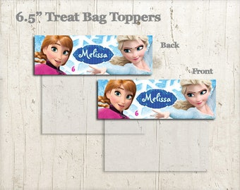 PRINTABLE Personalized Frozen  Treat Bag Topper for  Birthday Party / Personalized Elsa and Anna  Treat Bag Toppers