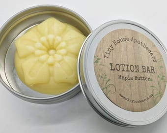 Maple butter lotion, Lotion bars, gift for her, gift for him, solid lotion, maple lotion gift idea, dry skin, gift under 10