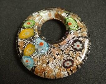 Shape round MILLEFIORI murano style glass PENDANT