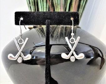 GOLF EARRINGS - earrings for golfer - golf club earrings - surgical stainless steel ear wires - sensitive ears, hypoallergenic ear wires