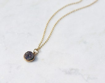 Druzy Pendant Rainbow Geode Necklace gold Plated Chain. Crystal Pendant set in gold plating. Sparkly crystal necklace