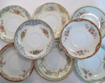 Vintage Mismatched China Saucers w/ Imperfections - Set of 8