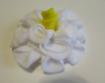 Add a Felt Flower with yellow center to any Sleep Mask or Neck Wrap- White