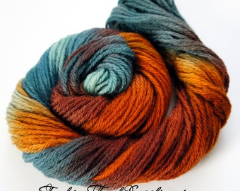 Autumn, Hand Painted Yarn in Shades of Teal, Orange and Brown