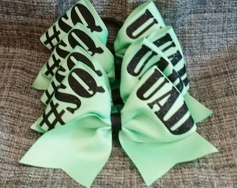Who is your #SQUAD - solid color ribbon - cheer bow - Custom: choose glitter color, ribbon color