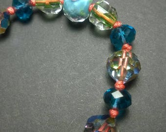 Chinese Snake Knot Blue Rose Bead Bracelet - Adjustable
