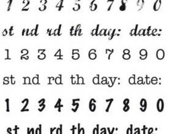 Date stamp, Number Stamp, Kaisercraft Stamp, Acrylic Stamp, Word Stamp