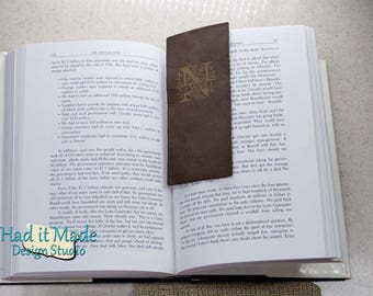 Monogram Bookmark, (BM-M3) Fine Leather Bookmark with Custom made Burlap Gift Bag, 3rd Anniversary Gift, Bookworm, Personalized bookmark