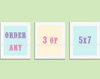 Nursery art, kids wall art, baby nursery decor, kids decor, nursery print, children's art, set, order any 3 of 5 x 7 prints