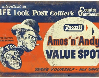 """Porcelain Look Amos n Andy Post Colliers 10"""" x 7"""" Reproduction Metal Sign"""