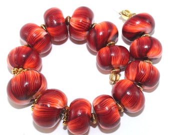 Rondelle beads for Jewelry Making, red round pressed stripes beads, Ombre beads for craft supplies,  14 polymer clay beads in red and orange