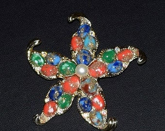 Memorial Day Sale Vintage Cathe' Textured Gold Star with Art Glass Beads, Aurora Borealis Rhinestones and a Single Pearl.