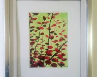 "Original framed acrylic painting ""Red Sticks"""