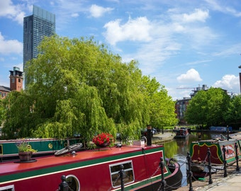 Large Manchester City Canal Boats Rochdale Canal Canvas Wall Art Picture