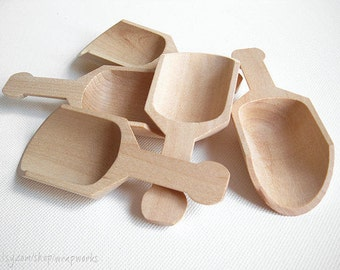 10 - 4.25 Inch Natural Wood Scoops, Bath Salt Scoop, Candy Bar Scoop