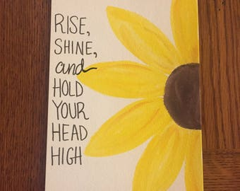 Sunflower Watercolor Quote 5X7