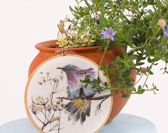 Embroidery Hoop Wall Art , Baby Girl Nursery Wall Art , Hummingbird Art , Bird Nursery Art , Watercolor  Art Print , Bird Nursery Decor