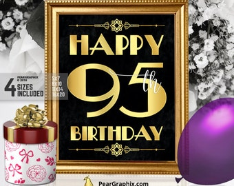 Happy 95th Birthday Sign, Printable 95th Birthday Decor Roaring 20s Gatsby Birthday Party Decoration, Art Deco Black Gold ▷ Instant Download