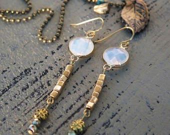 Dangle Earrings,Boho Jewelry,Beads Earrings, Romantic Earrings, Drop Earrings, Bohemian Jewelry, Gold Earrings,