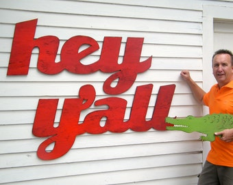 Large Hey Y'all Wall Hanging Southern Hey Y'all Sign Southernism Saying Extra Large Wooden Sign 2Pc Set Outdoor Sign