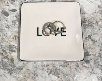 Jewerly Dish, Ring Dish, Gift for Her, Ring Holder, Love ring dish