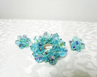 Aquamarine Glass Brooch With Matching Clip On Earrings / Silver Tone With AB Glass Beads / Vintage Brooch