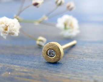 Baby's Breath. Diamond and 14K Gold Organic Stud. Recycled Gold. Eco Friendly. Handmade. One Tiny Stud. Fine Jewelry. Sustainable jewelry.