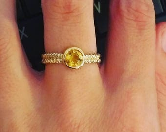 Citrine Engagement Ring, 18K Solid Gold, Twisted Gold Band, Solitaire Ring, Citrine Promise Ring, Anniversary Gift, Greek Jewelry
