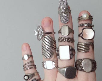 Art Deco Sterling Ring. Tall Geometric Armor Ring. Marcasite.