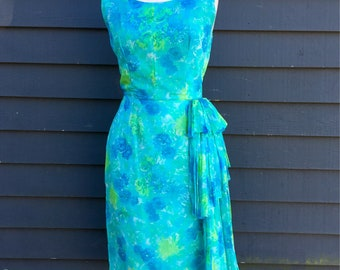 Bombshell babe chiffon wiggle dress  50s 60s Mermaid water color . Hourglass vlv Side Sash . blue green floral mini