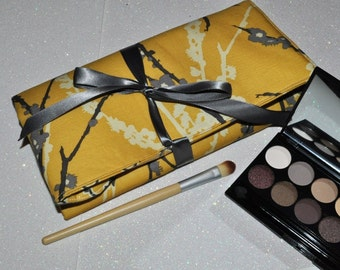 Fabric Brush Roll // Yellow Grey Makeup Brush Storage - Padded Brush Organizer - Beauty Gift for Her Under 40 - Made to Order