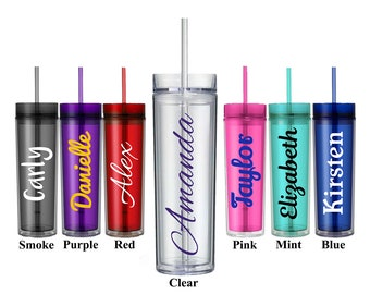 Personalized Tumbler, Custom Acrylic Skinny Water Bottle With Straw, Bridesmaid Gifts, Bridal Party Favors, Wedding Gift, Plastic Cups