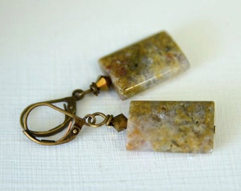 Marbled Brown Ocean Jasper Earrings with Swarovski Crystals and Natural Stones