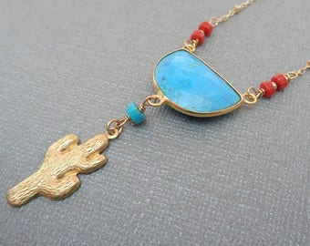 Turquoise Cactus Coral Necklace / Natural Turquoise Half Moon / Red Coral Cactus Drop / December Birthstone / Southwest Jewelry //BE41